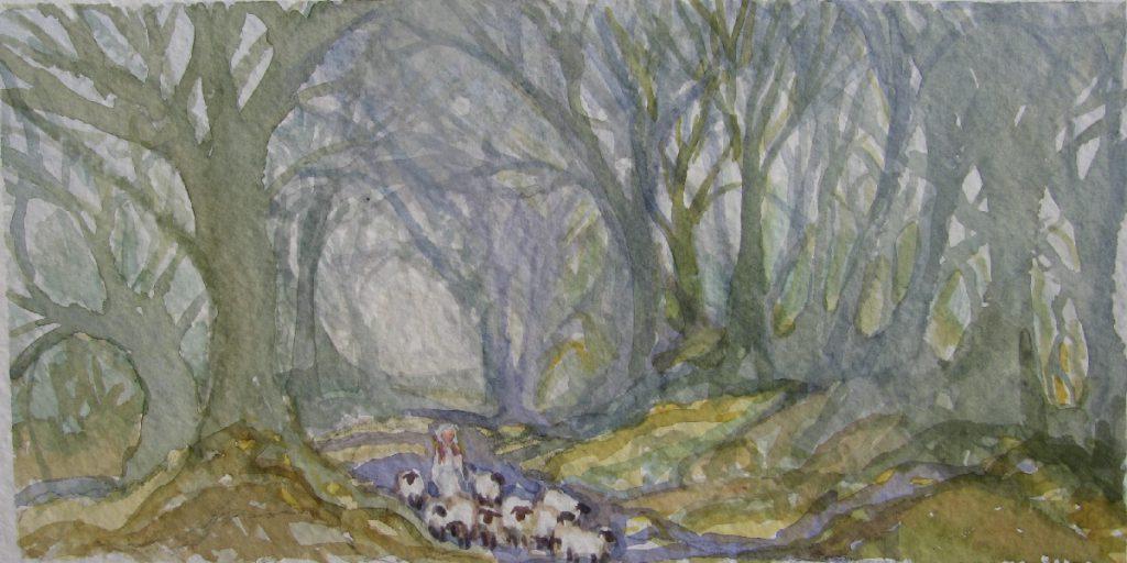 watercolor English sheep woods landscape