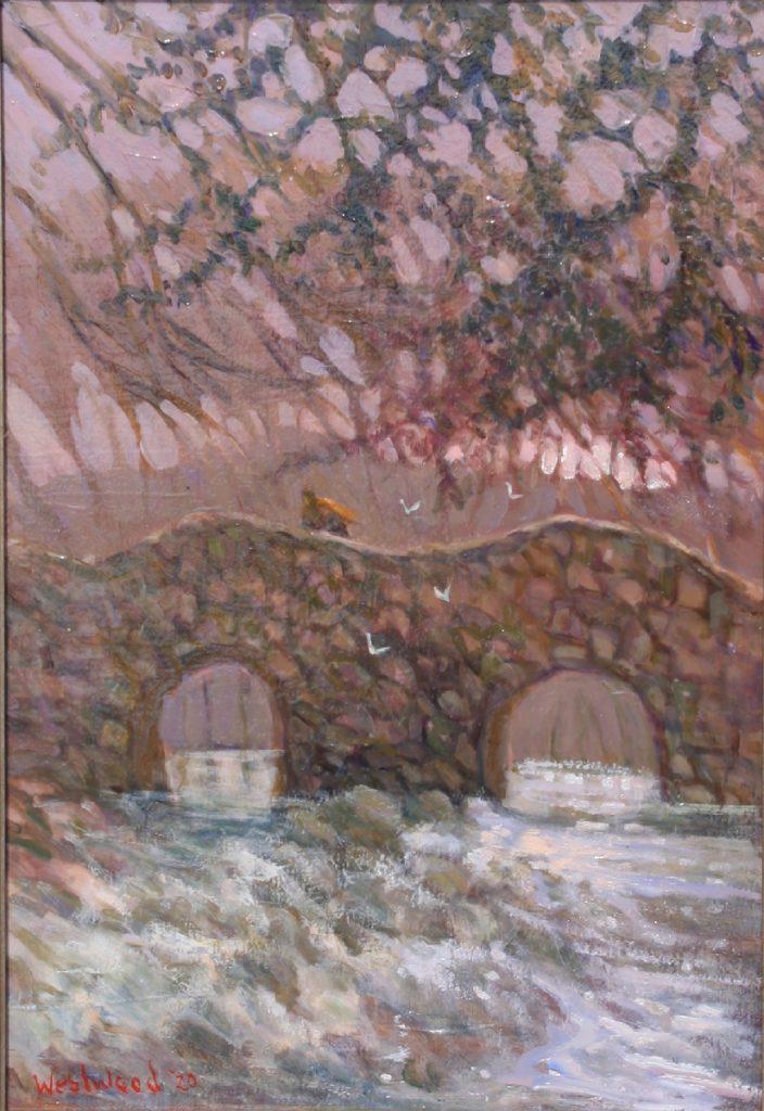 Oil English landscape bridge