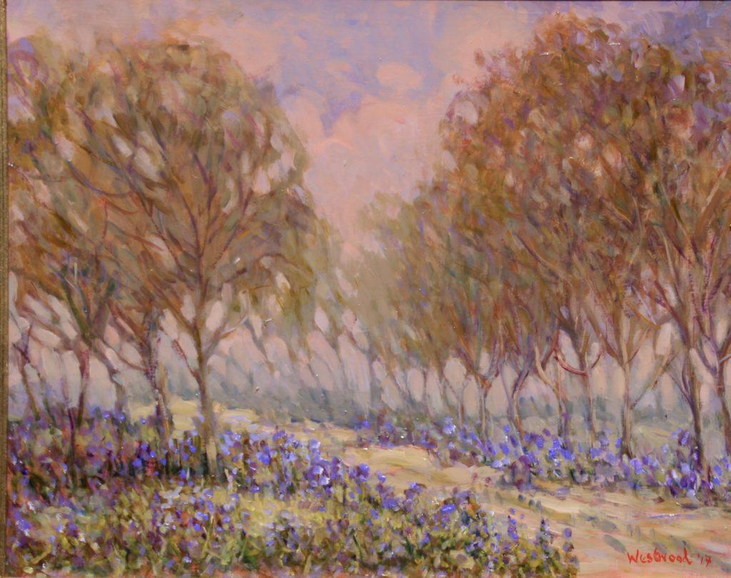 English landscape oil bluebells