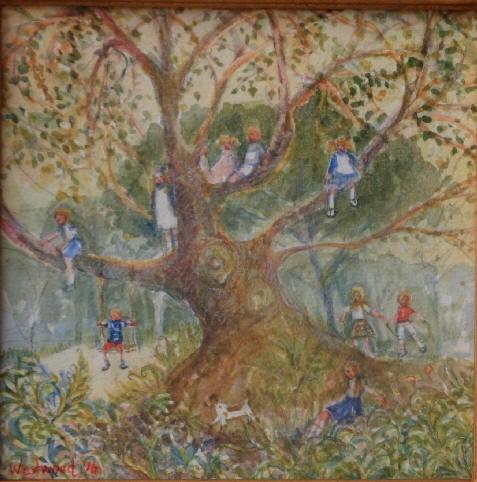 English watercolor children landscape
