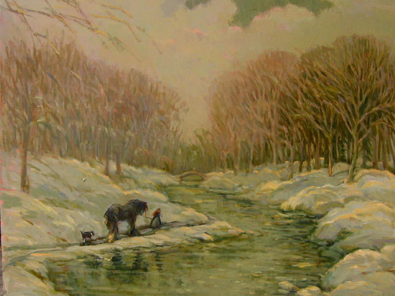 oil English landscape snowscape horse river
