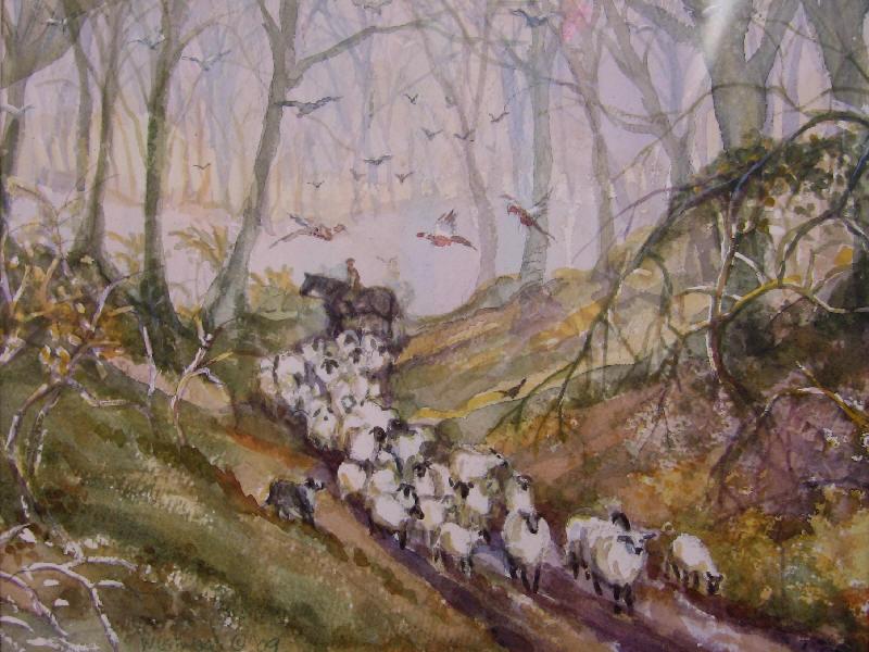 English watercolor sheep landscape