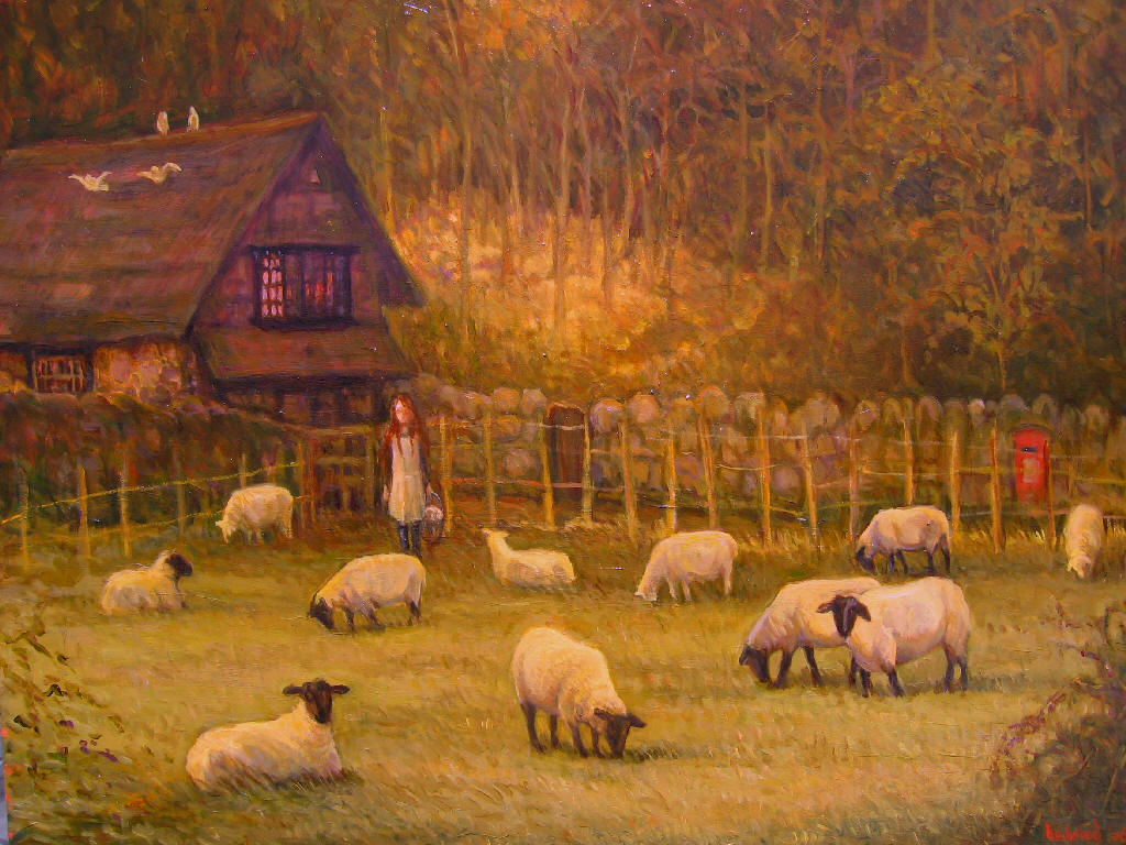 Giclee farm English landscape