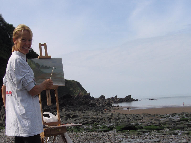 Painting at Lee Bay, England