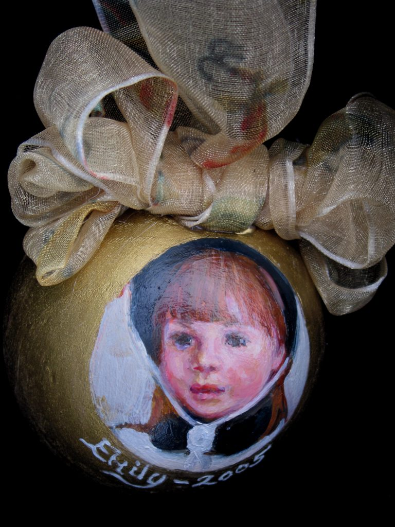 oil portrait on ornament
