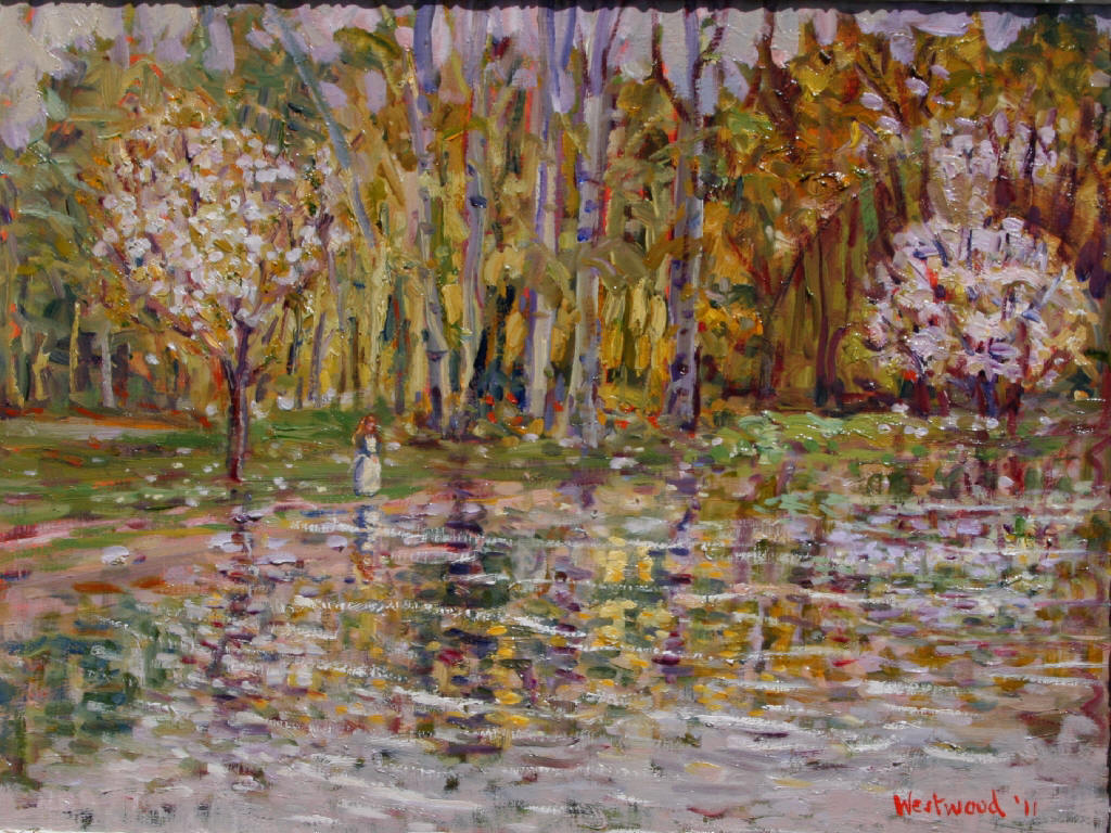 Oil English landscape trees water