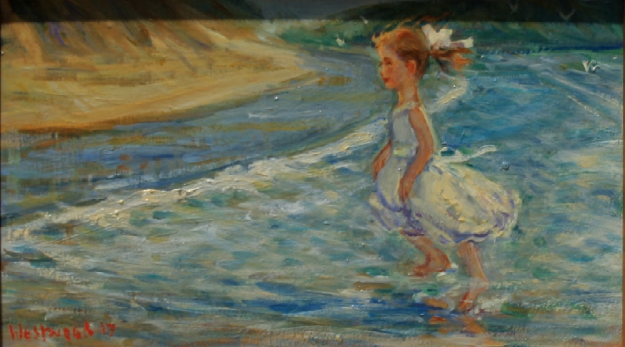 English oil seascape child