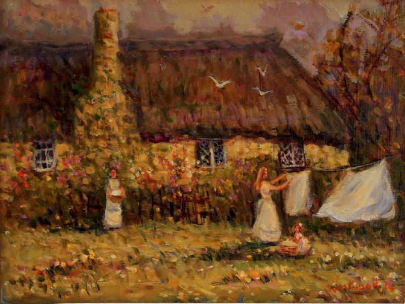 English oil landscape cottage