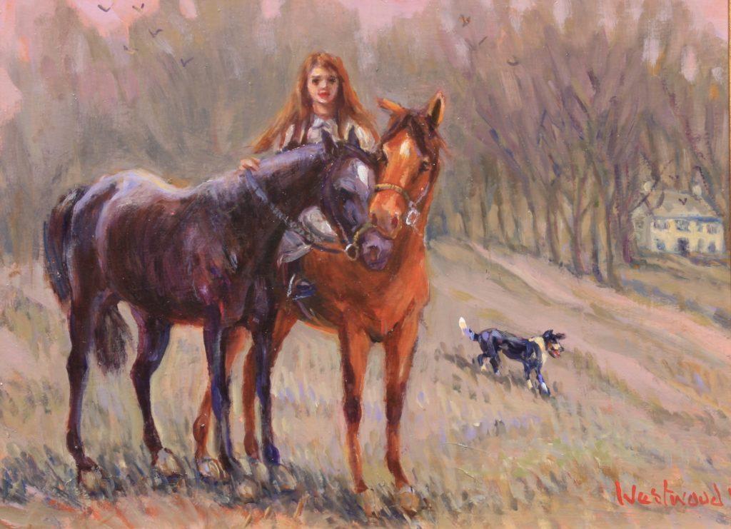 English oil landscape horses farm