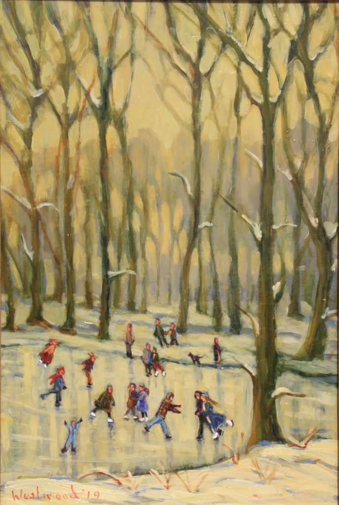 Oil English skating pond landscape