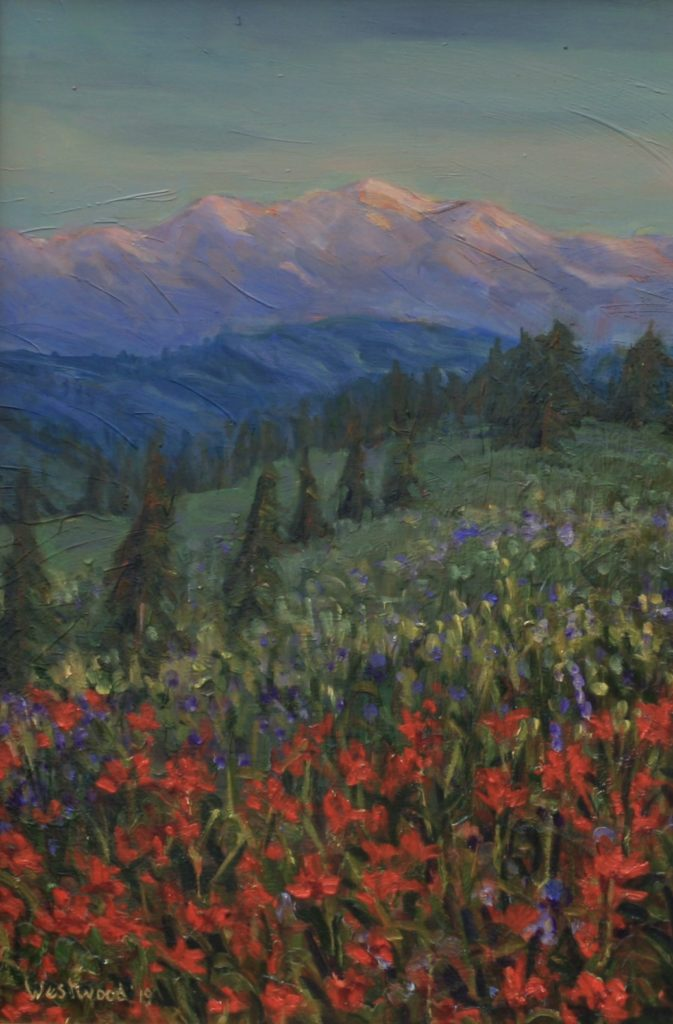 mountains oil wildflowers