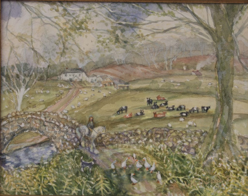 English watercolor farm sheep pony rider