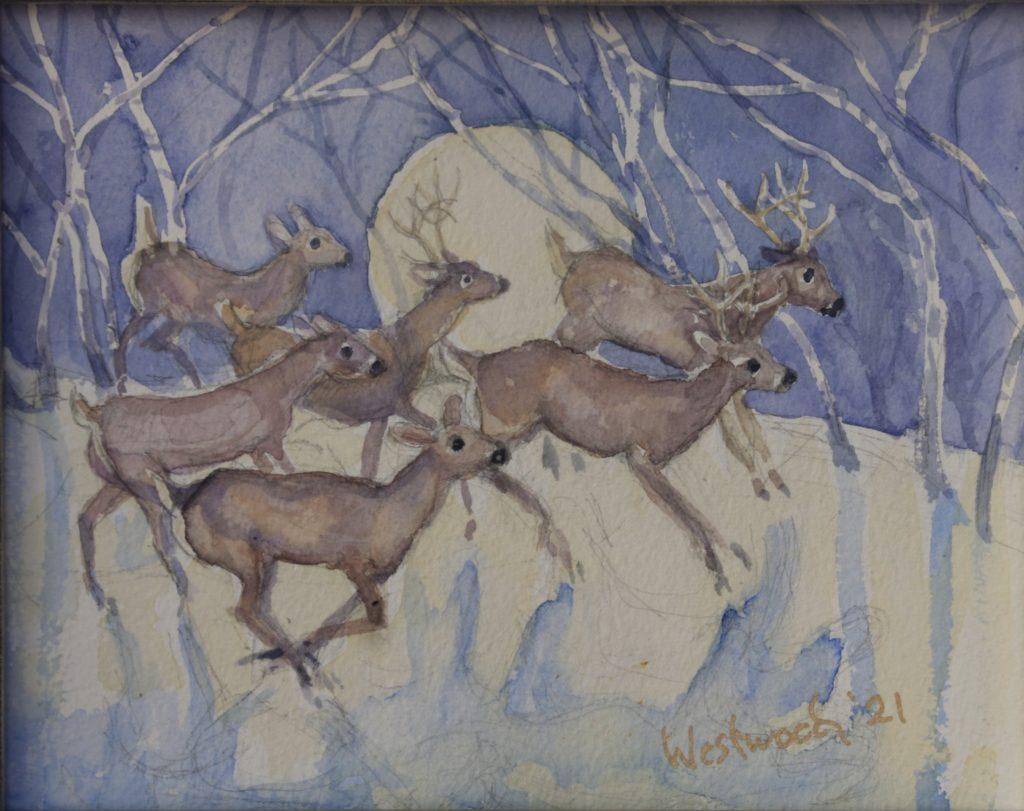 moon deer snow watercolor