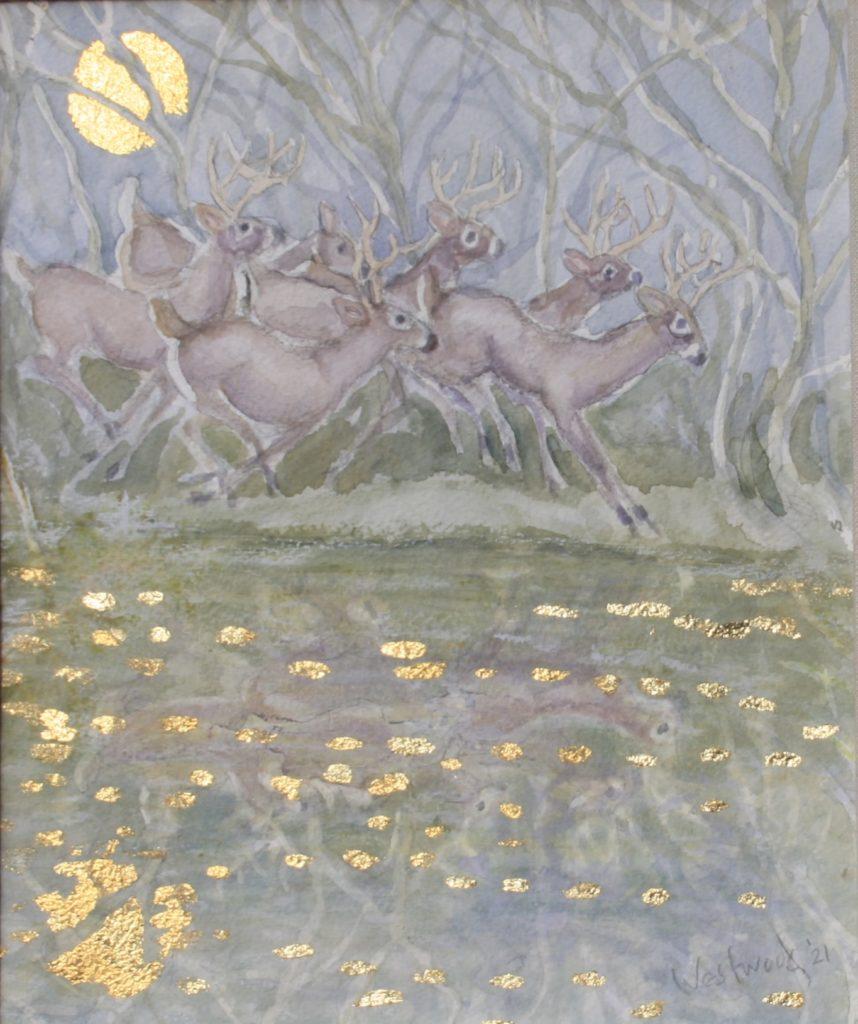 watercolor deer river forest gold leaf