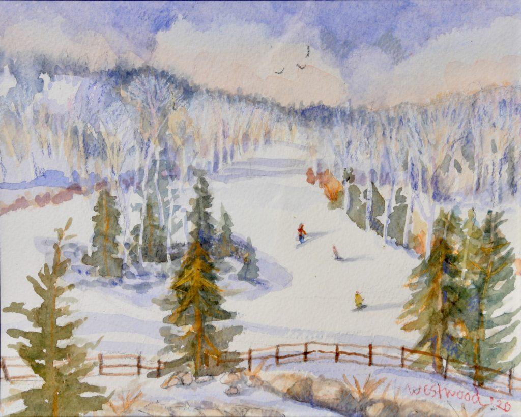 watercolor snow-boarders Beaver Creek