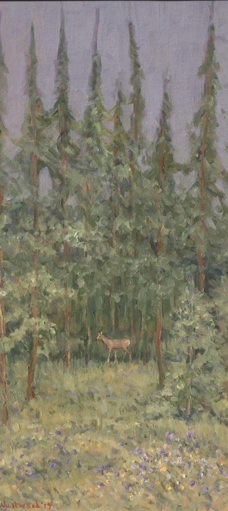 deer in a glade oil