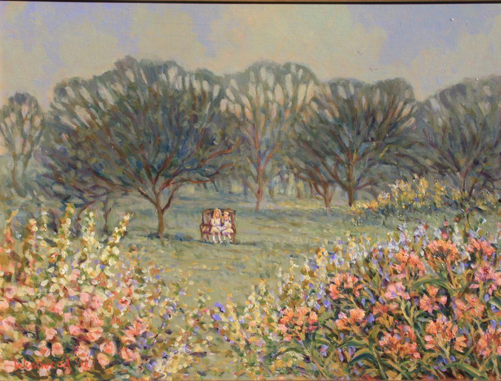English oil garden landscape