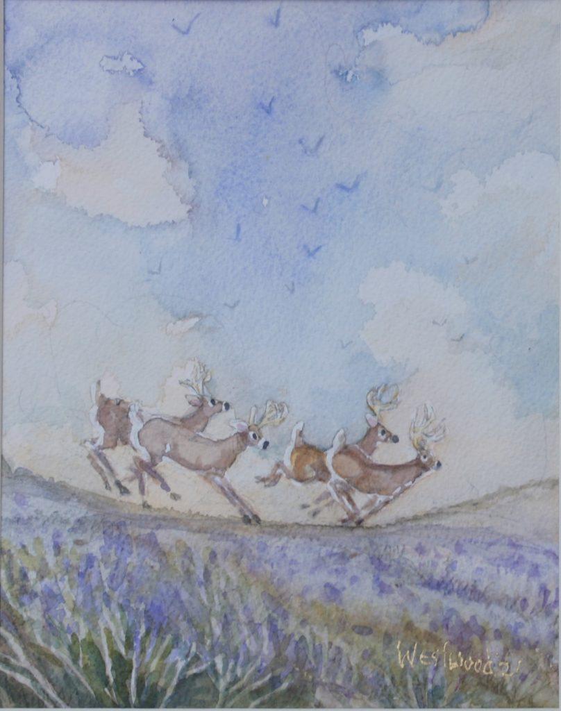 English watercolor moors deer