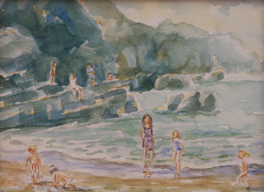 watercolor seascape Lee Bay