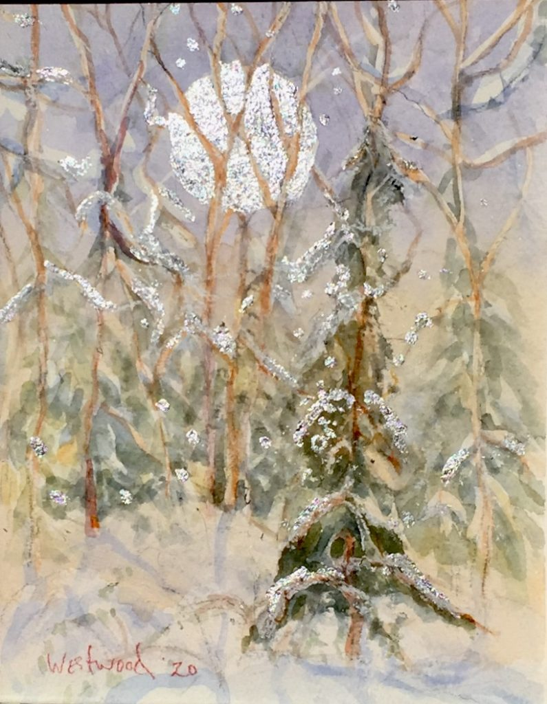 Forest snow watercolor