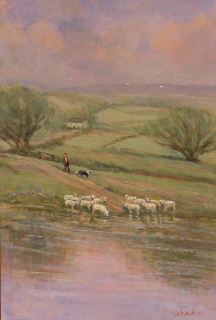 English oil pastoral sheep countryside