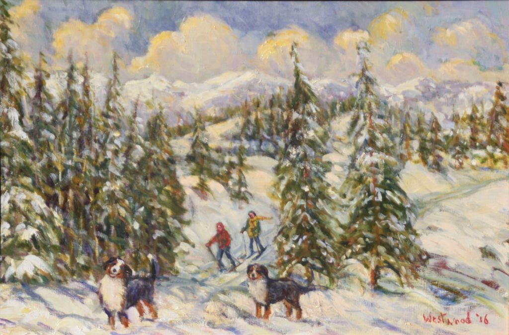 snow mountains oil dogs
