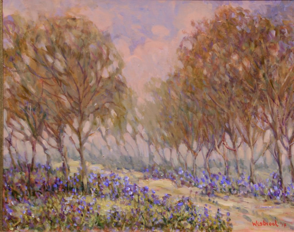 oil Bluebell path 12X16 inches