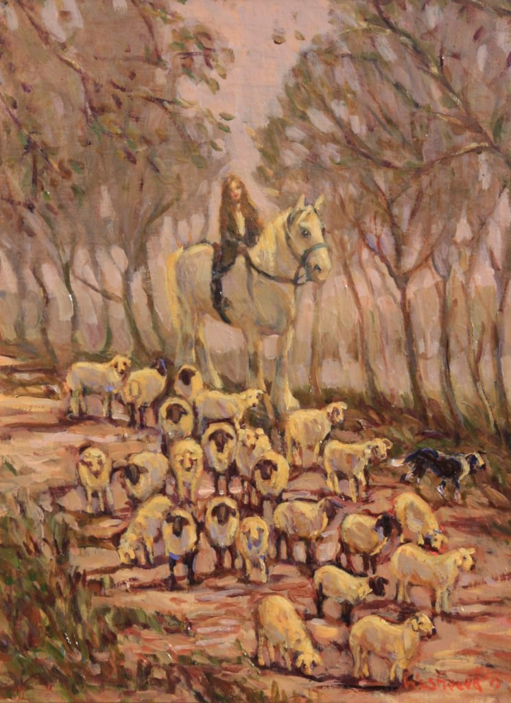 English landscape oil sheep horse