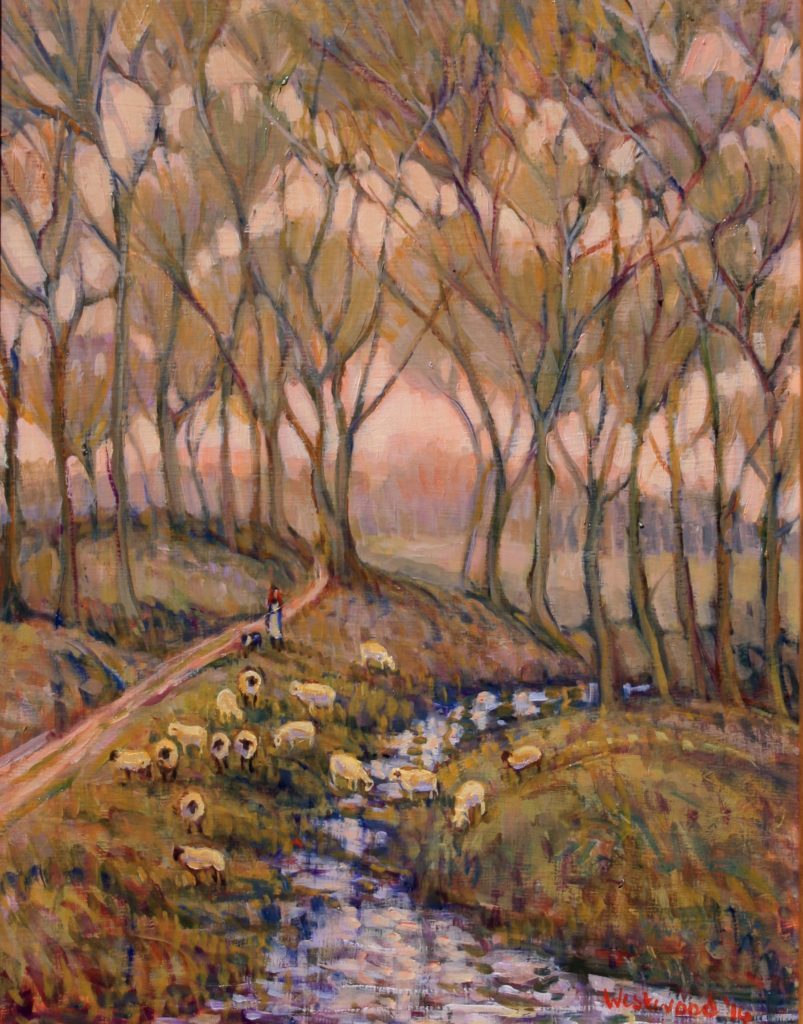 English oil landscape sheep water